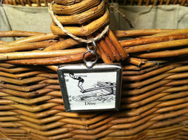 2 Sided Charm - Diver Diving w/ Definition in metal frame image 2