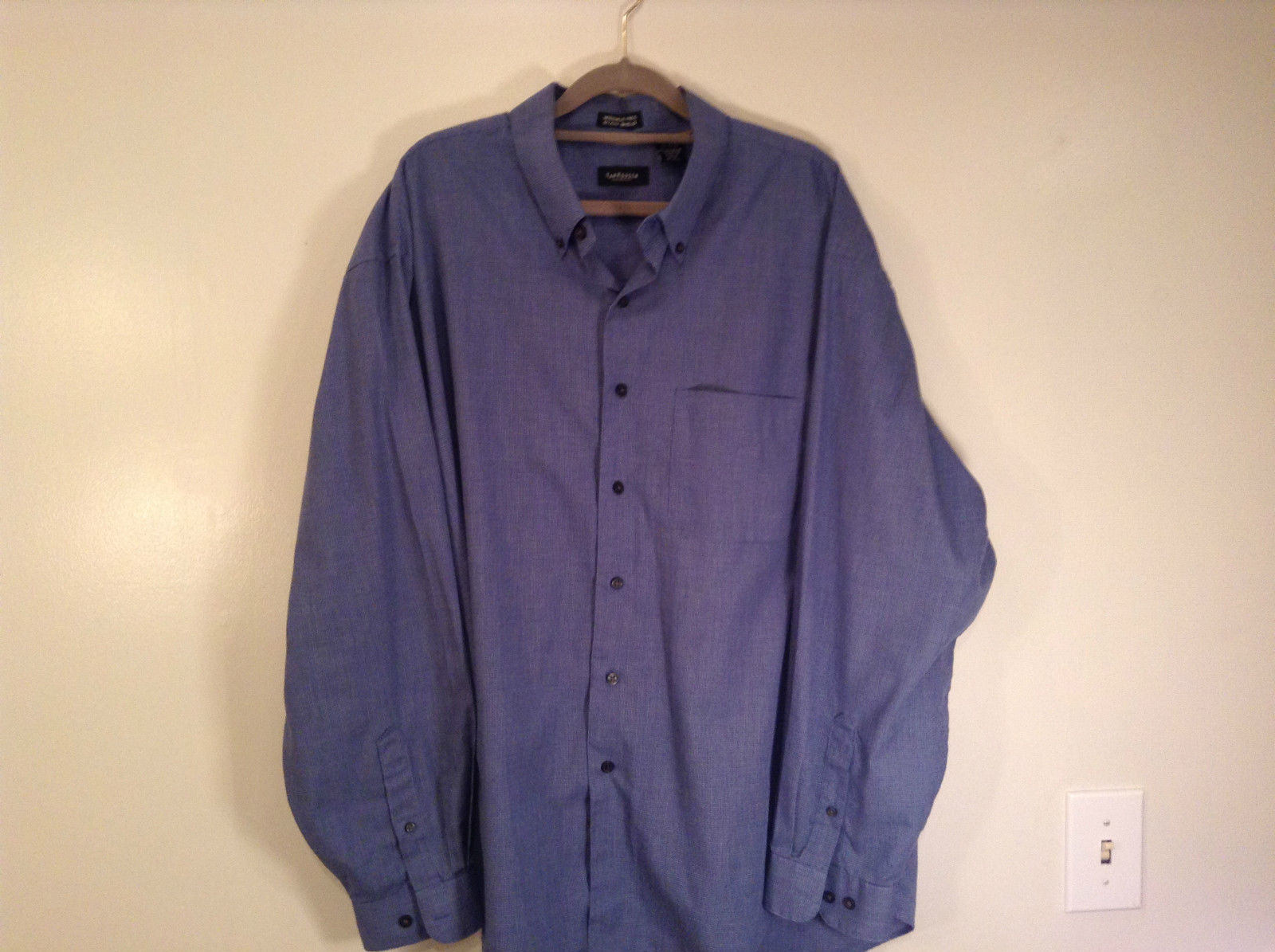 Blue Plaid Long Sleeve Van Hensen Wrinkle Free Stain Shield Shirt Size XL
