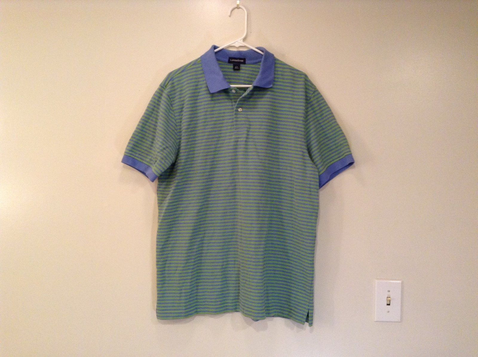 Blue Green Stripes Blue Collar Sleeve Cuffs Cotton Lands End Polo Shirt Size L
