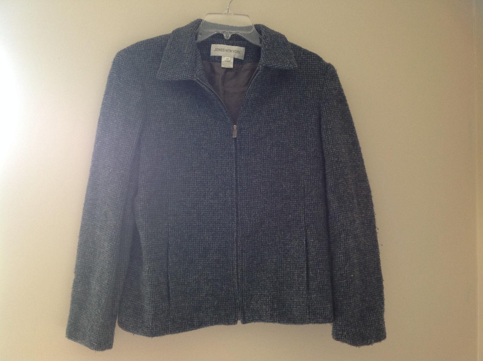 Blue Jones New York Twill Like Pattern Collared Light Winter Jacket Size 12