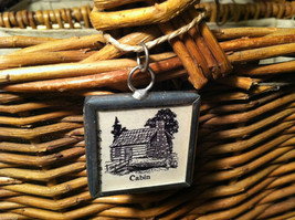 2 Sided Charm - Cabin in the Woods w/ Definition in metal frame image 2