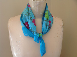 Blue Lime Green Pink Flowered Square Scarf Light Weight Material