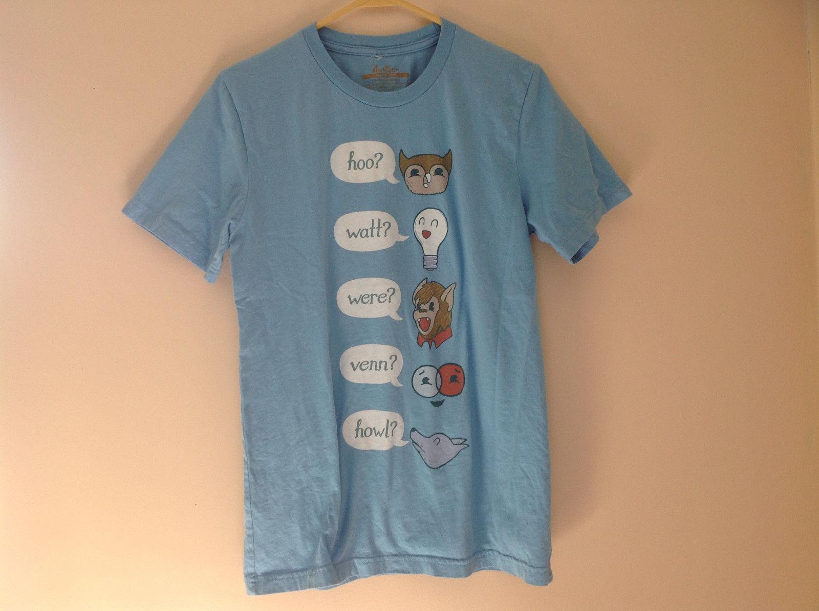 Blue Hoo Watt Were Venn Howl Graphic Short Sleeve T-Shirt Threadless Size M