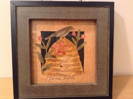 Bird Sitting on Beehive Decorative Picture in Frame Wood Glass NEW image 3