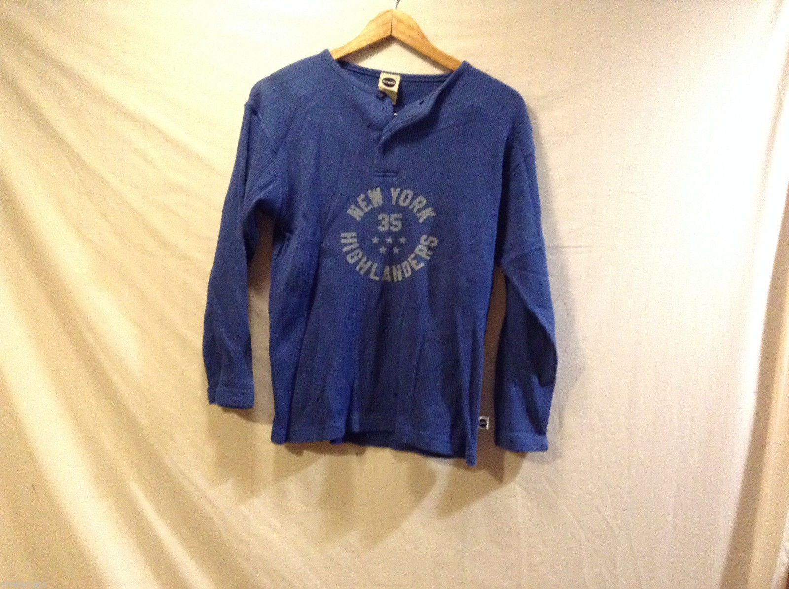 Blue Marlin Boys long sleeve thermal 100% Cotton blue T-Shirt, Size M (10-12)