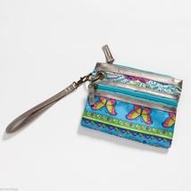 Blue Mixed Print modern Wristlet wallet clutch w butterflies