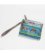 Blue Mixed Print modern Wristlet wallet clutch w butterflies - $15.84