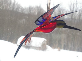Blue, Red, Yellow Black Hand Blown Hummingbird Bee eater Window Tree Ornament