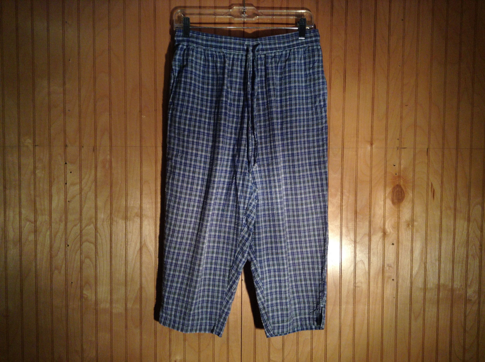 Blue Plaid Capris 100 Percent Cotton Pants by Lauren Brooke Size Large