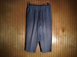 Blue Plaid Capris 100 Percent Cotton Pants by Lauren Brooke Size Large