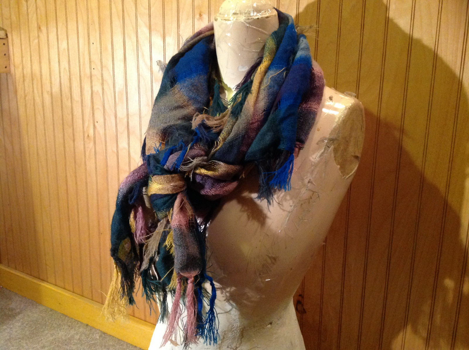Blue Pink Purple Plaid Tasseled Square Scarf Soft Material Other Colors No Tag