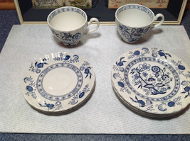 Blue Nordic Fine Bone China England 8 Piece Set Plates Cups Blue Floral Design