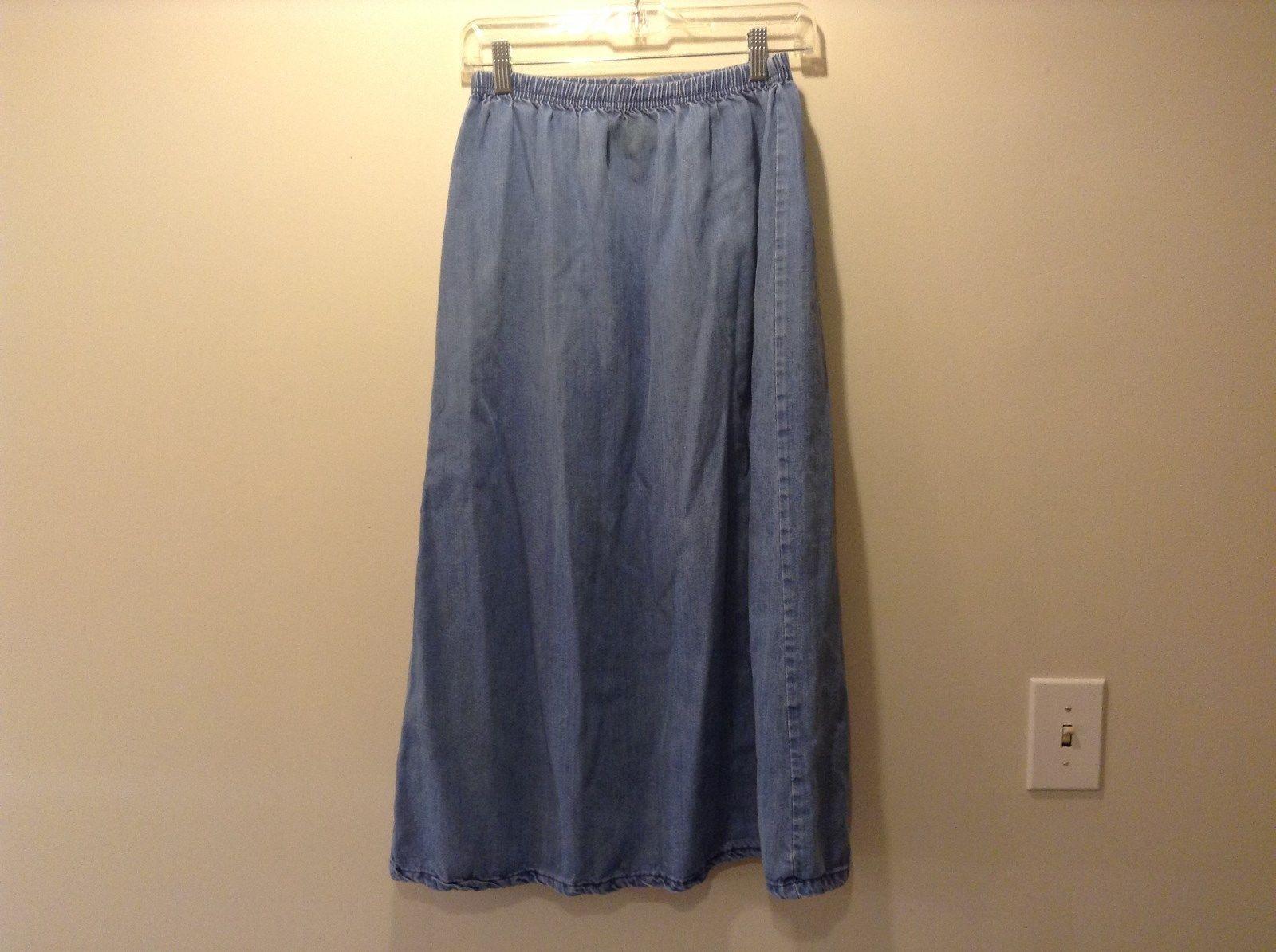 Blue Rue de Pare Denim Long A Line Skirt Size Medium Elastic Waist