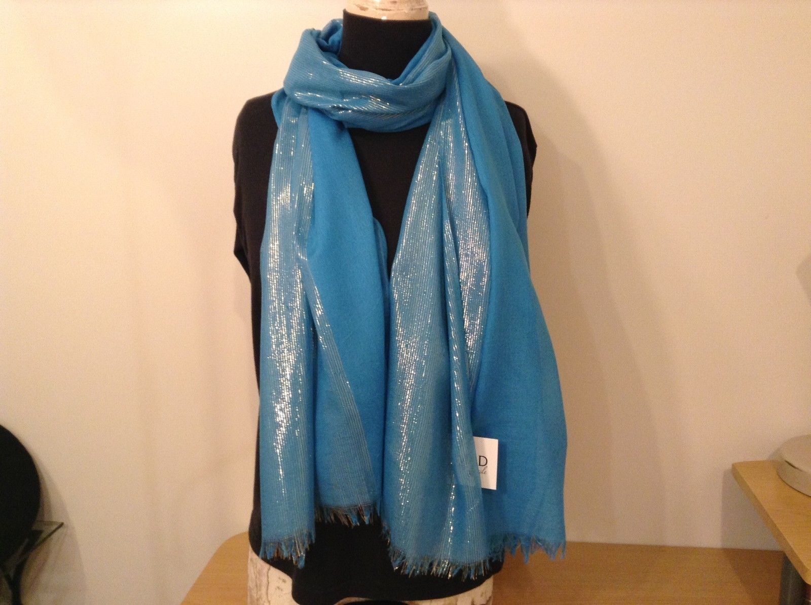 Blue Seren scarf with metallic thread accents  on half segment