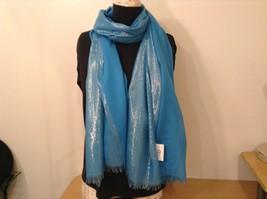 Blue Seren scarf with metallic thread accents  on half segment