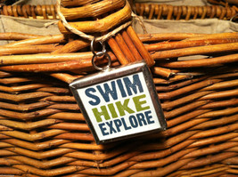 """2 Sided Charm - """"Swim Hike Explore"""" and picture of Bass Fish in metal frame image 2"""