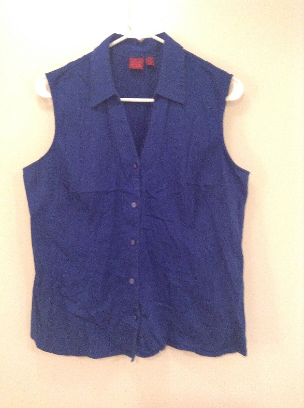 Blue Sleeveless Button Up V Neck Collared Shirt Stretch 212 Brand Size Large