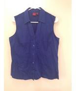 Blue Sleeveless Button Up V Neck Collared Shirt Stretch 212 Brand Size L... - $39.99