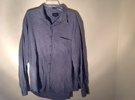 Blue Square Design White Button Long Sleeve Collared Shirt Club Room Size XL