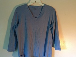 Blue St Johns Bay V Neck Three Quarter Length Sleeves Shirt Size Large