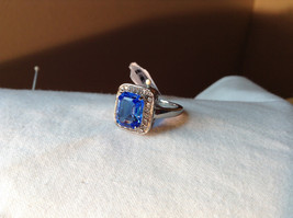 Blue Rectangular Stone White Stone Boarder Stainless Steel Ring Size 7 and 8