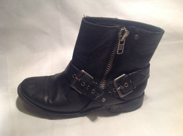 Black Boots Side Zipper Closure All  Man Made Materials Size One Strap Buckle image 2