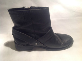 Black Boots Side Zipper Closure All  Man Made Materials Size One Strap Buckle image 3