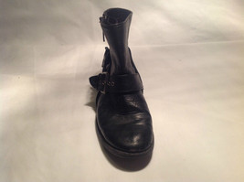 Black Boots Side Zipper Closure All  Man Made Materials Size One Strap Buckle image 5