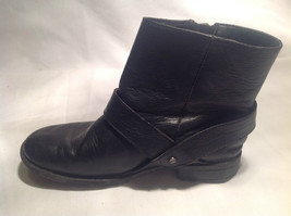 Black Boots Side Zipper Closure All  Man Made Materials Size One Strap Buckle image 4