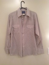 Blue Tan Stripes Wrangler Long Sleeve Button Up Shirt 2 Chest Pockets Size Large