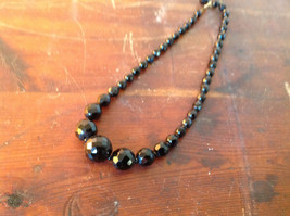 Black Bead Necklace Adjustable Length made in West Germany 15 Inches faceted Jet image 2