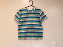 Blue White Green Brown Turquoise Stripes White Stag Short Sleeve Shirt Size XL
