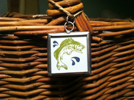 """2 Sided Charm - """"Swim Hike Explore"""" and picture of Bass Fish in metal frame image 3"""