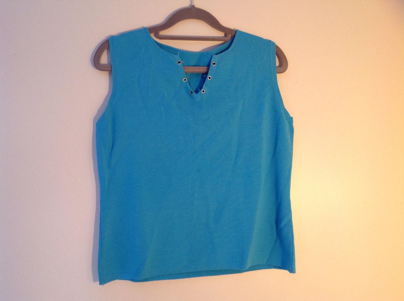 Blue V-neckline Tank Top Shirt Eyelet Detail at V of Neckline  NO TAG Size Large