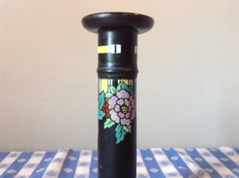 Black Candle Holder with Flowers Raglan England Whieldon Ware 8 Inches High image 3