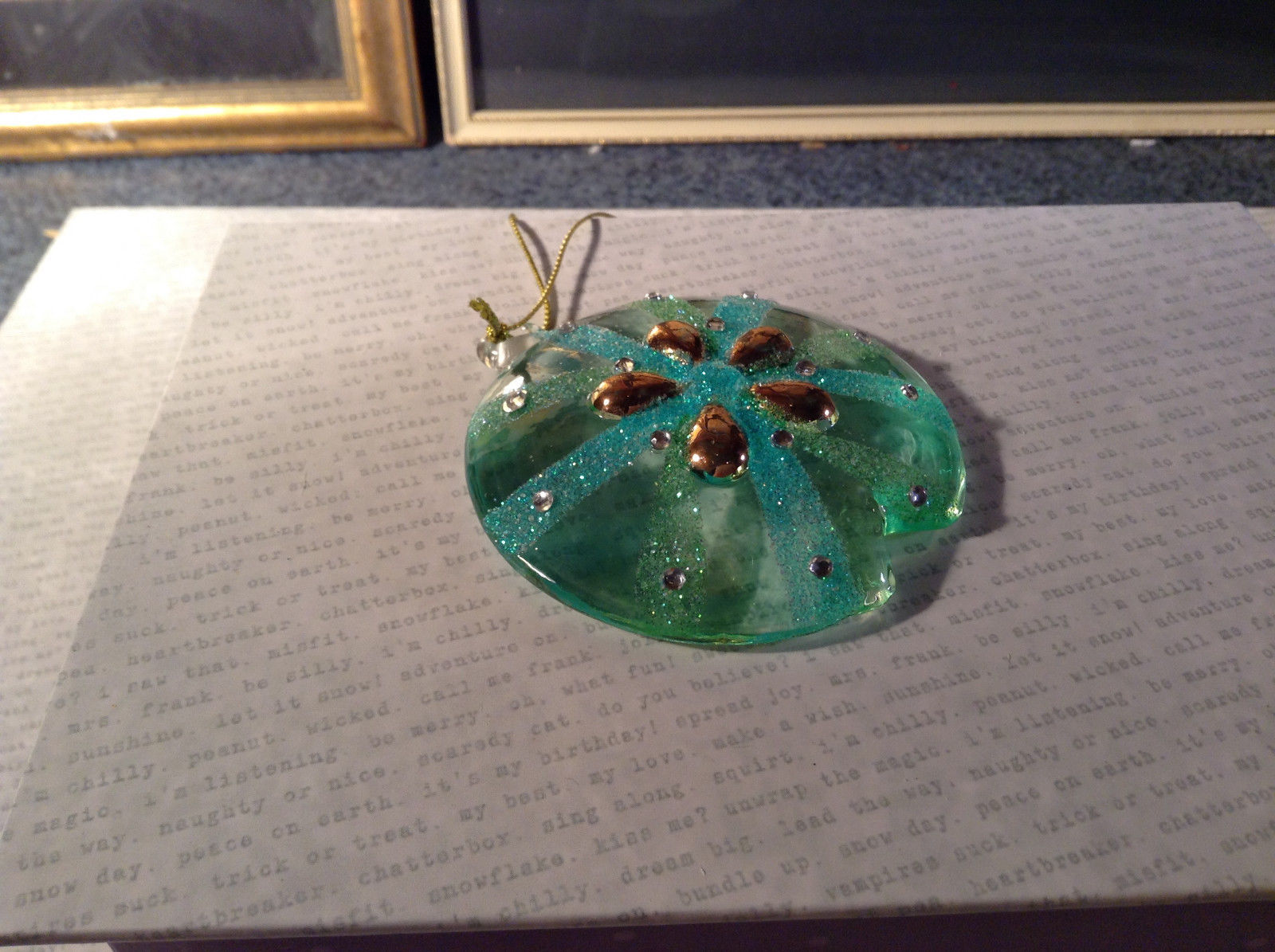 Blue and Green Glass Sand Dollar Ornament by Holiday Tree Decoration