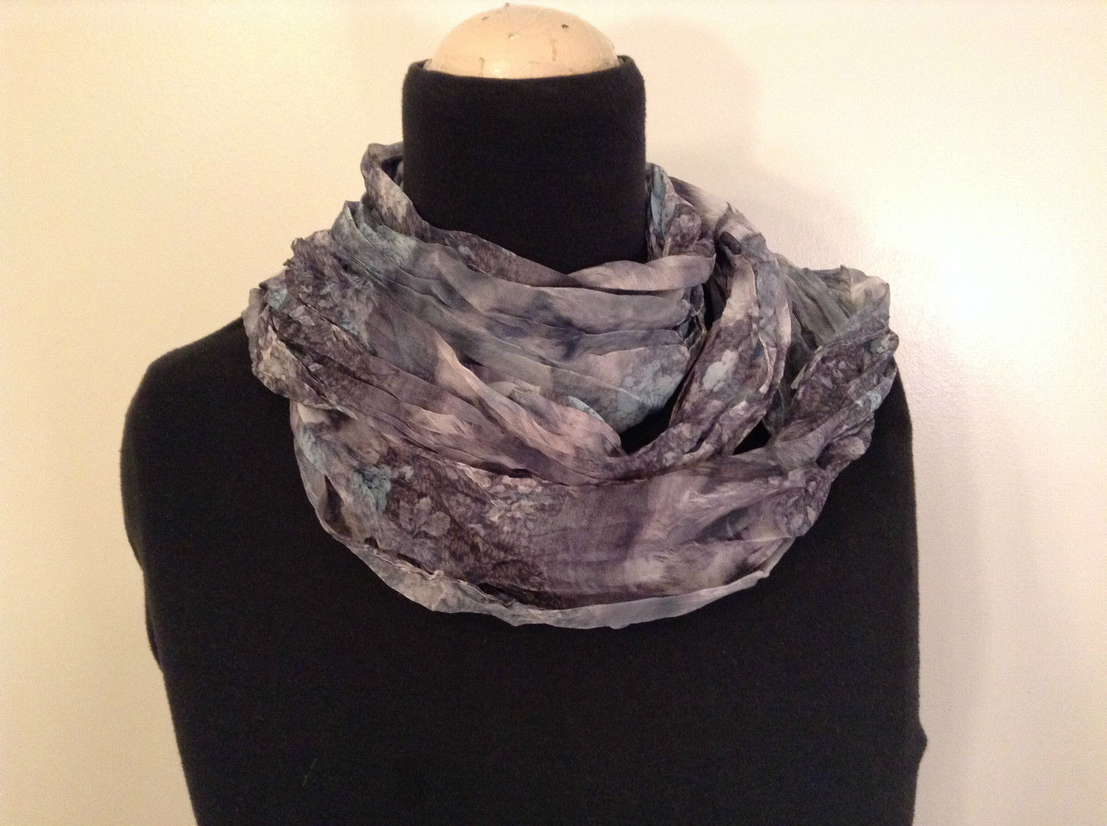 Blue and Gray Pleated 100 Percent Polyester Scarf