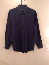Blue White Checked Long Sleeve Button Up Van Heusen Shirt Size L 16 to 16.5