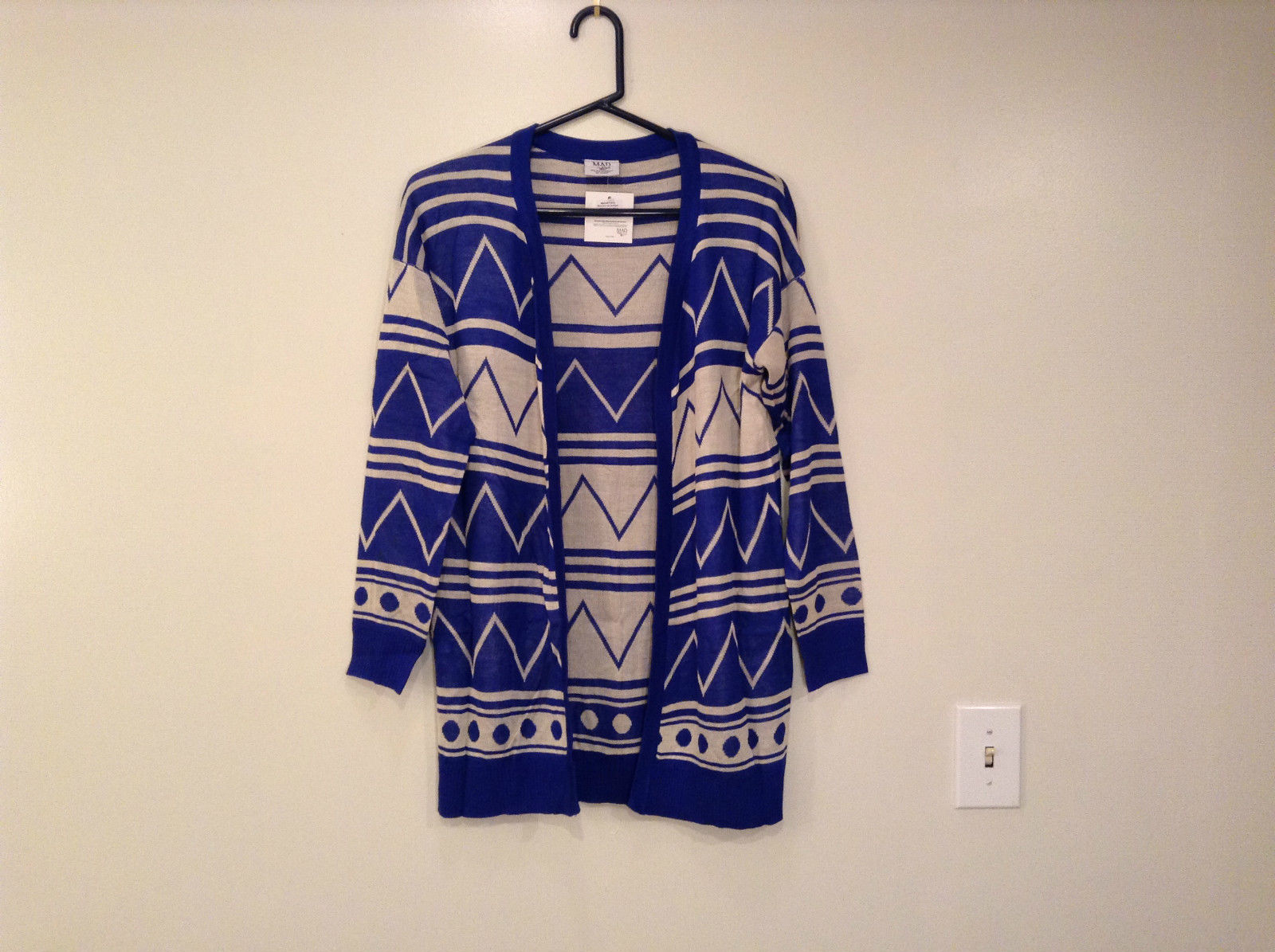 Blue and White Anorak Long Sleeve Cardigan Sweater Wrap New in Package