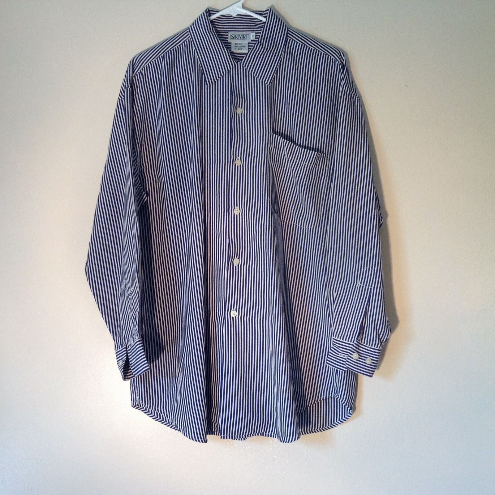 Blue and White Striped Button Down Collared Shirt SKYR 1 Front Pocket Size M