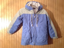 Blue and White Lands End Winter Lined Coat with Hood Size Small 7 to 8