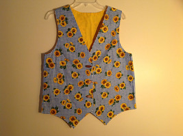 Blue plaid sunflower decorated toggle up vest V cut at neck and bottom Size L