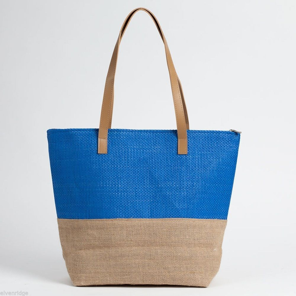 Blue color Block tote Summer with Jute