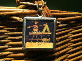 """2 Sided Charm - """"Lake Life is Best"""" and picture of Camp Site in metal frame image 3"""