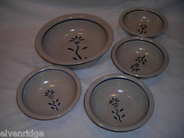 Blue stoneware ceramic bowls matching set 5 pieces - $24.74