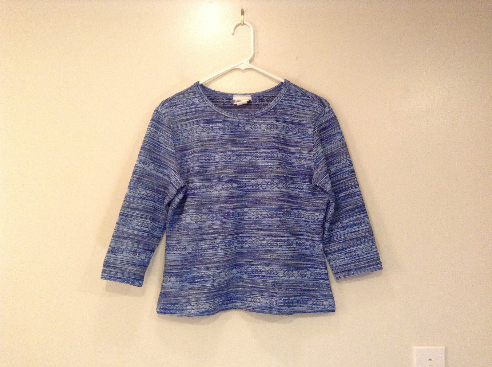 Blue w Stripes Geometric Pattern Fashion Bug Sweater Size SL metallic sparkle