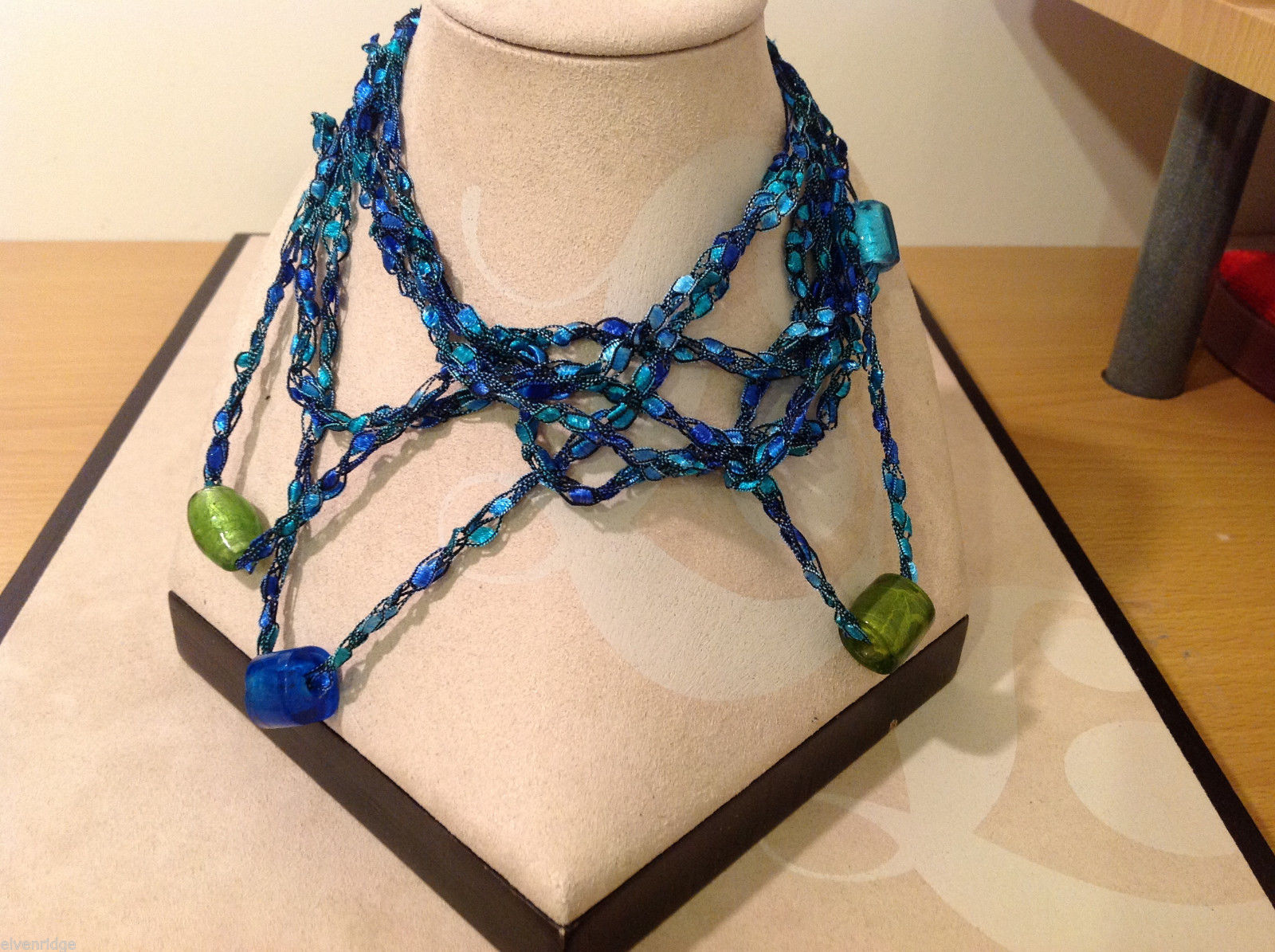 Blue shades Knit Fabric Layered look Necklace with blue, green, gold glass beads