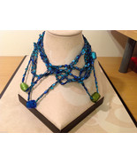 Blue shades Knit Fabric Layered look Necklace with blue, green, gold gla... - $39.99