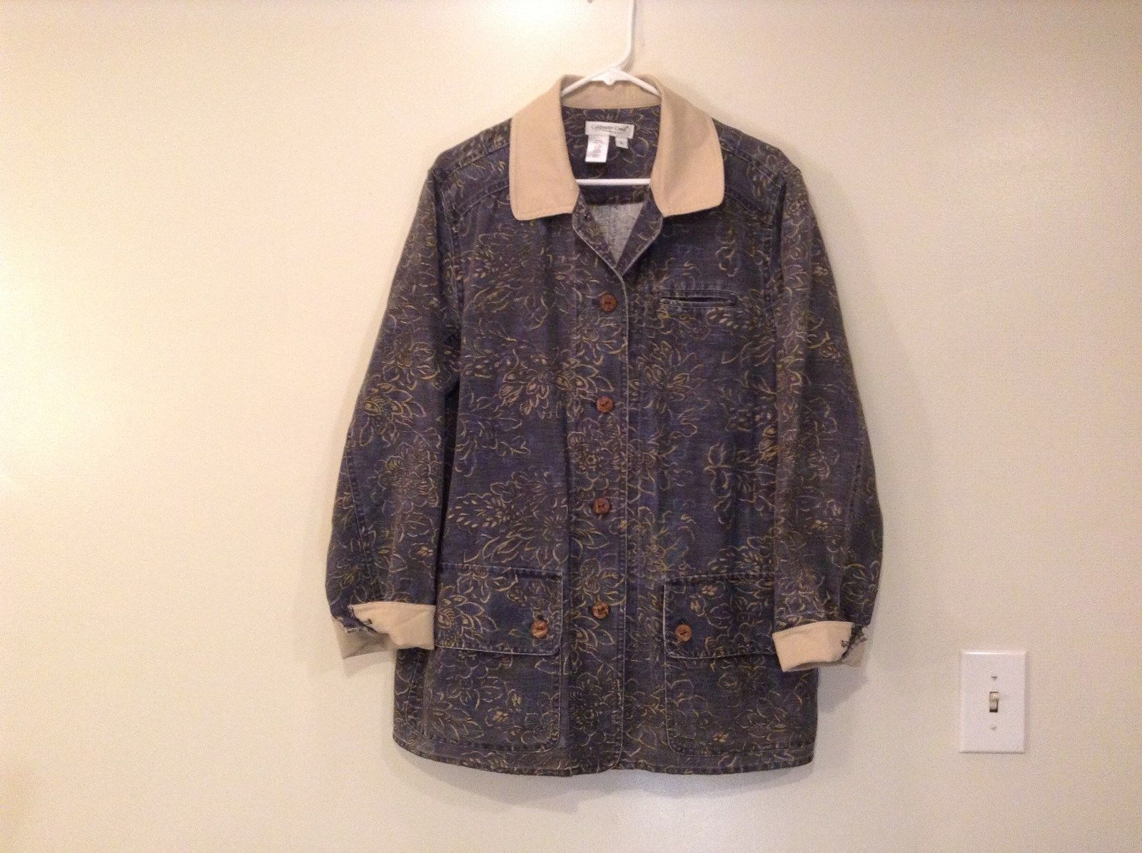 Blue with Beige Floral Print Unlined Coldwater Creek Casual Jacket Size Large