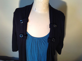 Black Cardigan Short Sleeves Blue Tank Top All In One Very Fashionable Size XL image 2